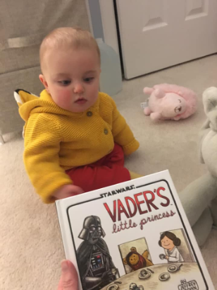 Training to love Star Wars just like her mommy.